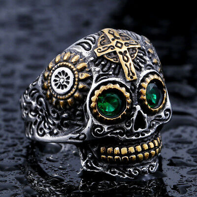 Titanium Stainless Steel Men's Craft Green Crystals Eyes Skull Designer Ring M38
