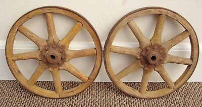 Very Nice Set Of 2 Antique Primitive Small Wooden Wagon Or