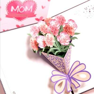 Carnation Mom I Love You 3D Pop Up Greeting Cards Christmas Mothers Day Gift