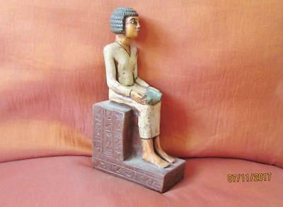 RARE Antique Egyptian Statue of Ancient King Horemheb Siting Army Collection