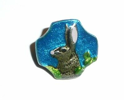 Adorable Hand Painted Ant Repro Ocean Blue Bunny Rabbit Metal Shank Button 5/8""