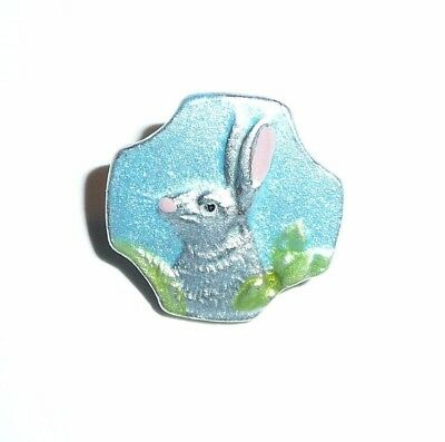 Adorable Hand Painted Ant Repro Baby Blue Bunny Rabbit Metal Shank Button 5/8""