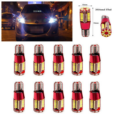 10Pcs White T10 4014 57-smd 12v LED Bulbs For Car Interior Lights Signal Lights