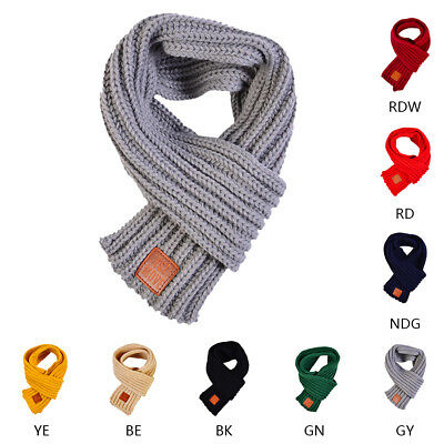 Unisex 110cm Children Kids Outdoor Warmer Scarf Knitted Woolen Wraps Neck Scarf