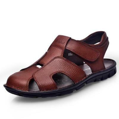 Fashion Mens Summer Hollow Out Soft Leather Sandals Casual Fisherman Sandals