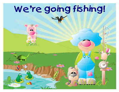 Custom Made T Shirt We're Going Fishing Cute Boy Overalls Hound Dog Frogs Turtle