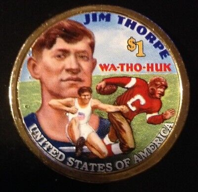 Colorized 2018 D Native American $ Jim Thorpe Football/olympics (Both Sides)