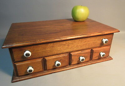 Small Wood Multi-Drawer Chest w/Porcelain Knobs Vintage Solid Oak