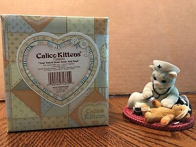 """Enesco Calico Kittens """"Your Touch Heals Body and Soul"""" Cat Nurse  720690"""