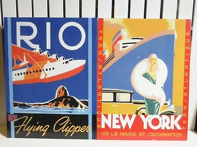 A Pair Of Vintage Design Signs Showing Travel To Rio And New York Wall Plaques