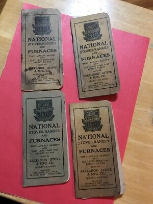 BS 508 Lot of 4 National Stove Furnaces Quincy IL Memo Books Illinois