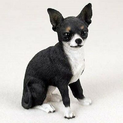 CHIHUAHUA dog HAND PAINTED Figurine BLACK & WHITE resin COLLECTIBLE Statue B&W