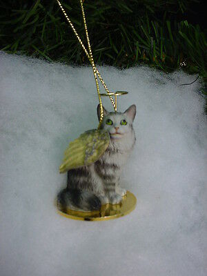 MAINE COON silver grey CAT ANGEL ORNAMENT Figurine kitty kitten Christmas NEW