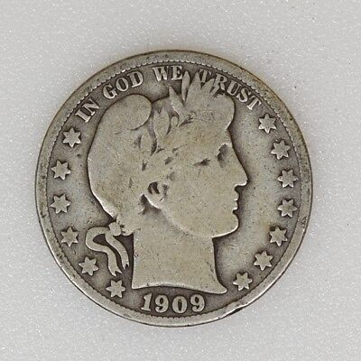 1909-S GOOD Condition Barber Silver Half Dollar Nice Color Nice Type - I-12157 G