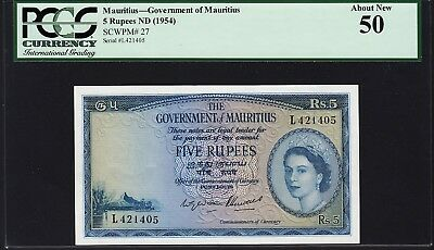Mauritius 5 Rupees Nd 1954 Pcgs 50 (Au) About New P 27 Queen Elizabeth Ii