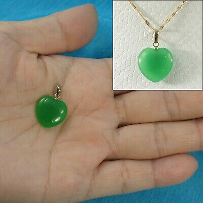 14k Solid Yellow Gold Hand Crafted Heart & Love 15mm Green Jade Pendant TPJ