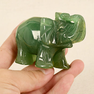 1X Natural Hand Carved Green Aventurine Jade Stone Lucky Crystal Elephant Animal