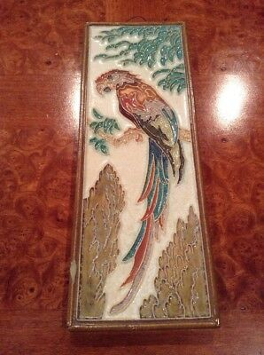 EXTREMELY RARE & LARGE Porceleyne Fles DELFT TILE with a COLORFUL PARROT