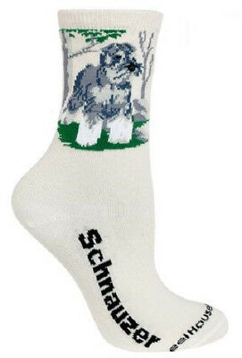 Adult Size Medium SCHNAUZER Adult Socks/Natural color Made in USA