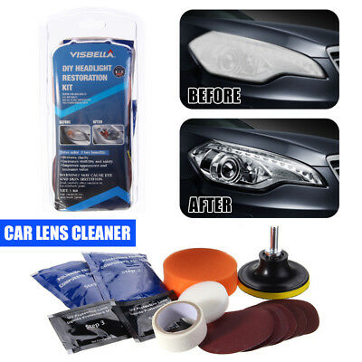 Car Vehicle Motorcycle Headlight Lamp Lens Cleaning Restoration Kit DIY Tool US