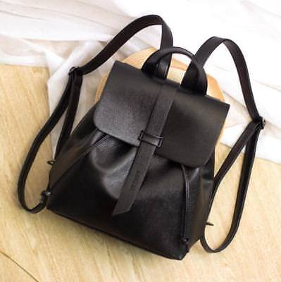 Fashion Girls Faux Leather Bookbags Casual Drawstring Backpack Black Travel Bags