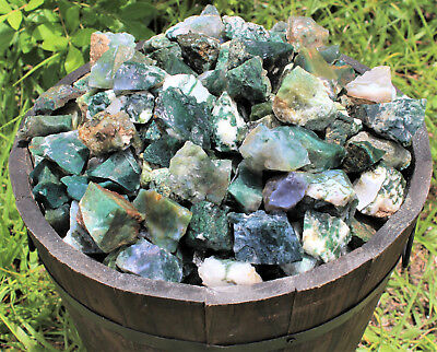 1 Single Piece of Natural Rough Moss Agate Rock Stone (Crystal Healing Raw)