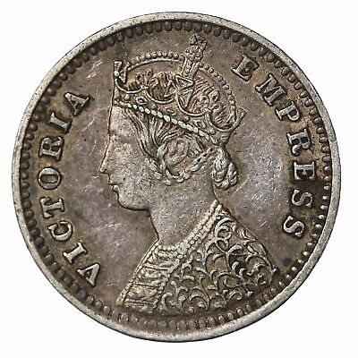 British India Queen Victoria 1891-B Silver 2 Annas KM#488