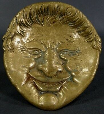 Antique 1890 German Cheeky Smiling Man Face Cast Bronze Pin Ring Tray Foot Dish