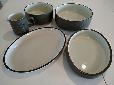 Denby Langley - CAMELOT - Dark Green Stoneware LOT of five serving pieces