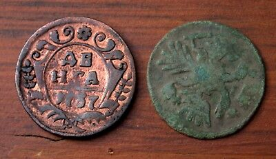 2 Very Old Russian Bronze Coins Dated 1700's  LOT #7
