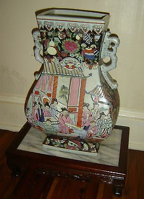 Antique Chinese Famille Rose Hexagon Vase Signed Guan Type Hu Large Qing Dynasty
