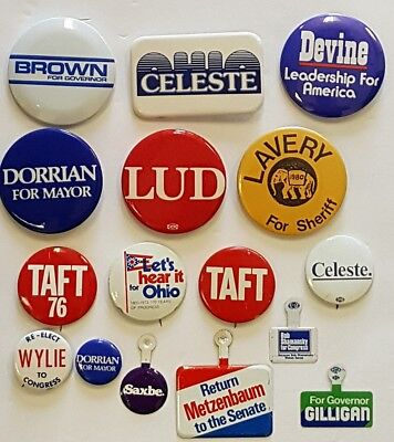 Group of 16 Different Ohio Campaign Buttons