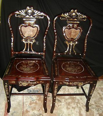 Antique Chinese Qing dynasty Pair Rosewood Chairs With Mother of Pearl Inlaid.