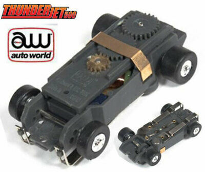 Blowout Sold Out New Autoworld 4 Gear HO Slot Car Chassis Racemaster rear tires