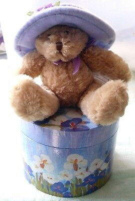 Avon Hat Box Teddy F526081 Bear & Box - Never Displayed - Only Ones!