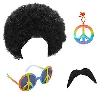 1970s SUPREME MENS HIPPIE HIPPY AFRO CURLY WIG SUNGLASSES TASH FANCY DRESS