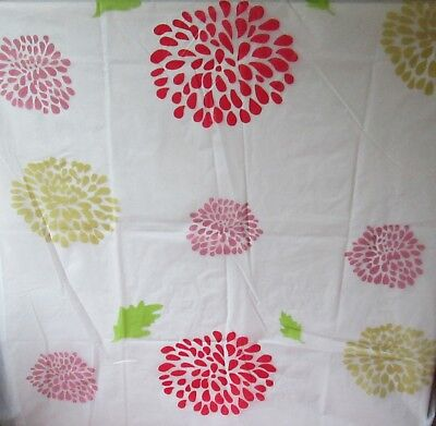MODERN SHOWER CURTAIN FLOWERS PEVA ECO FRIENDLY EXTRA LONG WITH HOOKS180x200cms