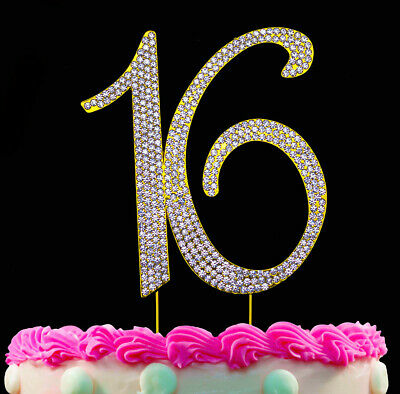 16th Birthday Cake Toppers Gold Bling Topper 16 Sweet Sixteen