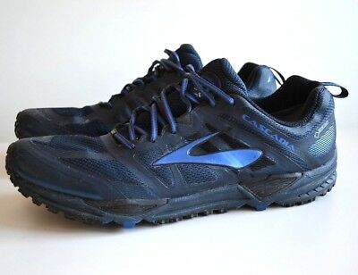 new style 63b37 681ff MEN'S BROOKS CASCADIA 11 GTX Gore-Tex Blue Trail Running Shoes, Size 14
