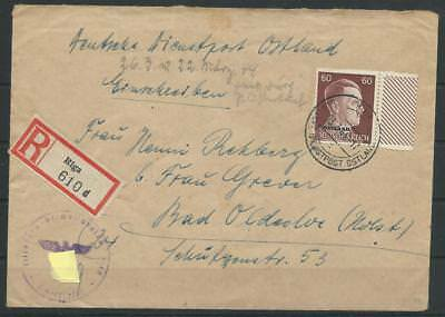 Deutsche Dienstpost Ostland R-Brief Riga nach Bad Oldesloe, 1944 (58447