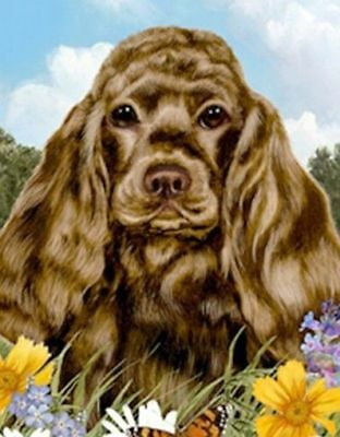 Beautiful COCKER SPANIEL CHOCOLATE Dog Summer Flowers Outdoor Garden Flag USA