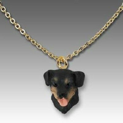 Dog on Chain ROTTWEILER Resin Dog Head Necklace Jewelry Pendant