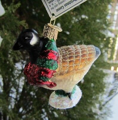 Old World Christmas CANADIAN GOOSE Blown Glass Ornament Retired 2014