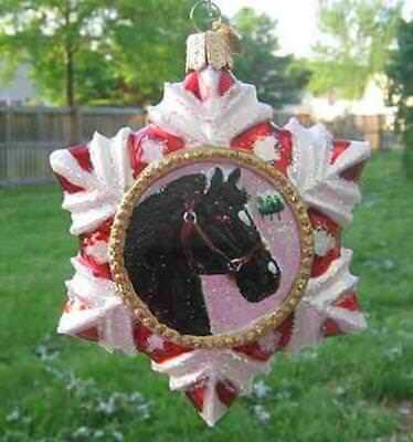 Holiday HORSE SNOWFLAKE BLACK Glass Christmas Ornament RETIRED 2009