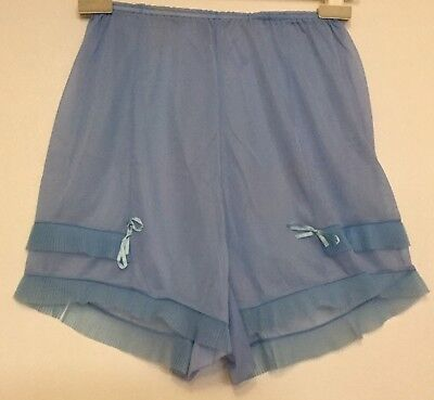 Vintage 1950s Blue Sheer Nylon Frilly Crystal Pleats French Knicker Panties S