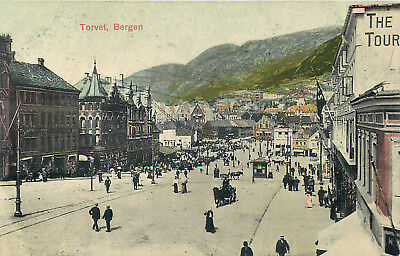 Norway - Bergen - Torvet - Busy Market Place - Old Postcard View