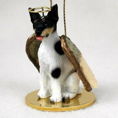 RAT TERRIER dog ANGEL ornament HAND PAINTED Resin Figurine Christmas puppy
