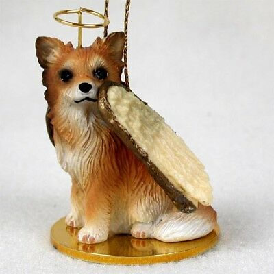 CHIHUAHUA long haired DOG ANGEL Ornament Resin Figurine Christmas longhair puppy