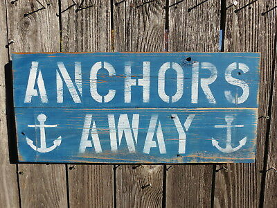 """10+ X 24 Inch Wood """"Anchors Away"""" Sign Nautical Seafood (#S843)"""