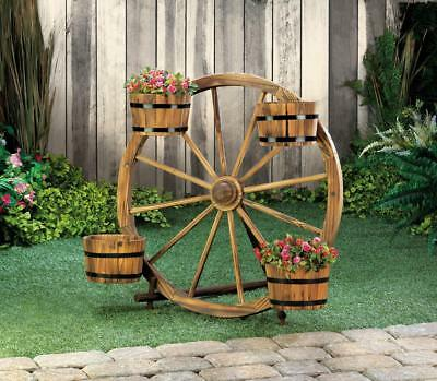 Wood Planter Wagon Wheel Hanging Bucket Box Flower Cart 23 85